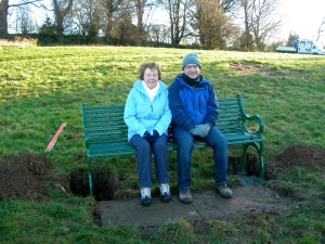 Barbara Winfield and Andy Cheetham, testing the new bench