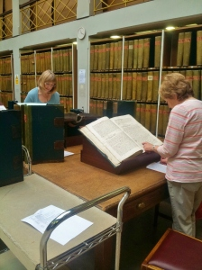 Barbara Winfield and Jennifer Kirkby at Wakefield Deeds Archives