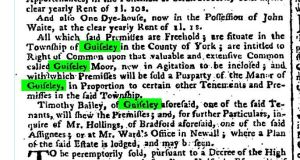 Newspaper land sale adverstiement from November 1778