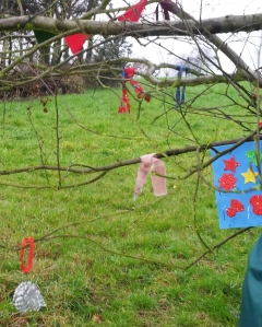 Children have made decorations for the Advent tree