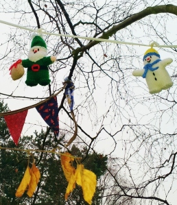Tree figures, knitted by a Guiseley resident of longstanding.