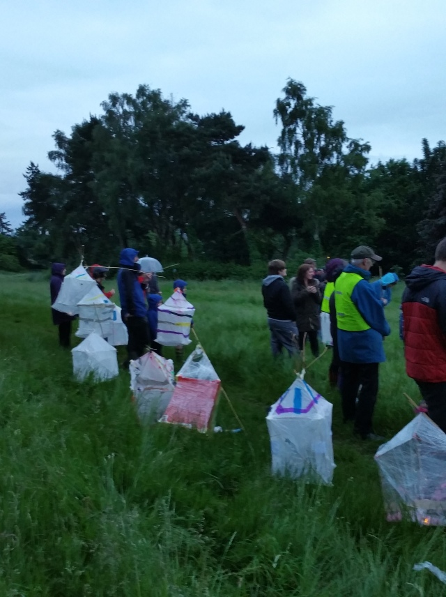 The lanterns arrive that had been made during the week long Tales Told Festival